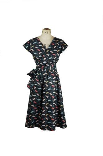 Baylis /& Knight Umbrella Print Short Sleeve WRAP Dress Retro Pin Up 40/'s