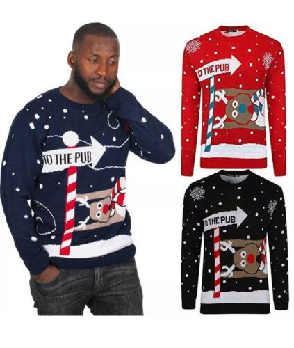 A/&S UNISEX Long Sleeves Christmas 3D XMAS Return to the PUB Jumper Sweater Top