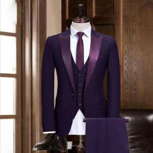 Men Blue Suit Pointed Lapel Tuxedo Dinner Suit 3 Piece Wedding Prom Party Wear