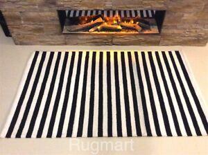 Image Is Loading Black White Striped Handmade 100 Cotton Reversible Rag