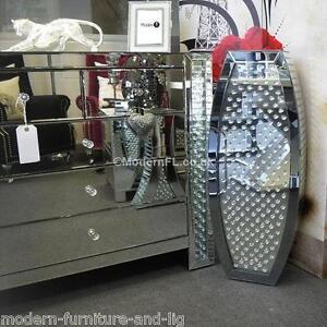 Venetian Mirrored Amp Crystal Floor Standing Barrel Vase