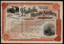 Duluth Missabe and Northern Railway 1898 Minnesota RARE Issued Stock Certificate