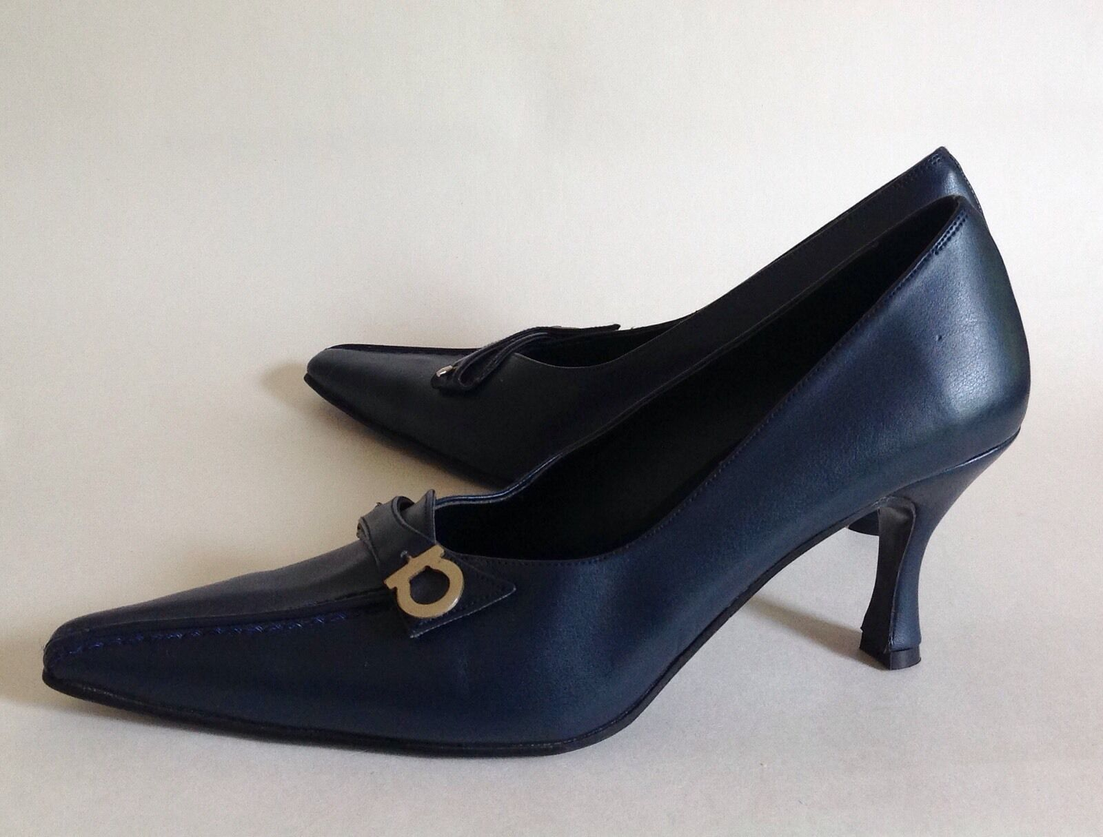 Sheshtawy Mode Court shoes Business Retro bluee Faux Leather Leather Leather 3  Heels UK 3 EU 36 26fec3