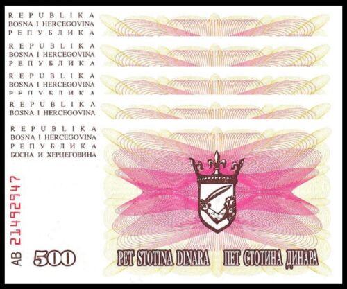 BOSNIA 500 DINARA 1992 UNC 5 PCS CONSECUTIVE LOT P-14
