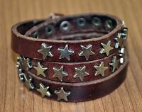 COOL STARS STUDDED MULTI-WRAP GENUINE LEATHER BRACELET WRISTBAND CUFF MENS Brown