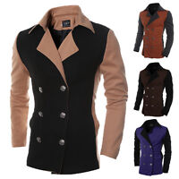 Mens Stylish Trench Coat Winter Long Jacket Double Breasted Coat Blazer Overcoat