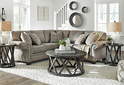 Traditional Living Room Sectional - Gray Microfiber Fabric Sofa Couch Set  IG2H | eBay