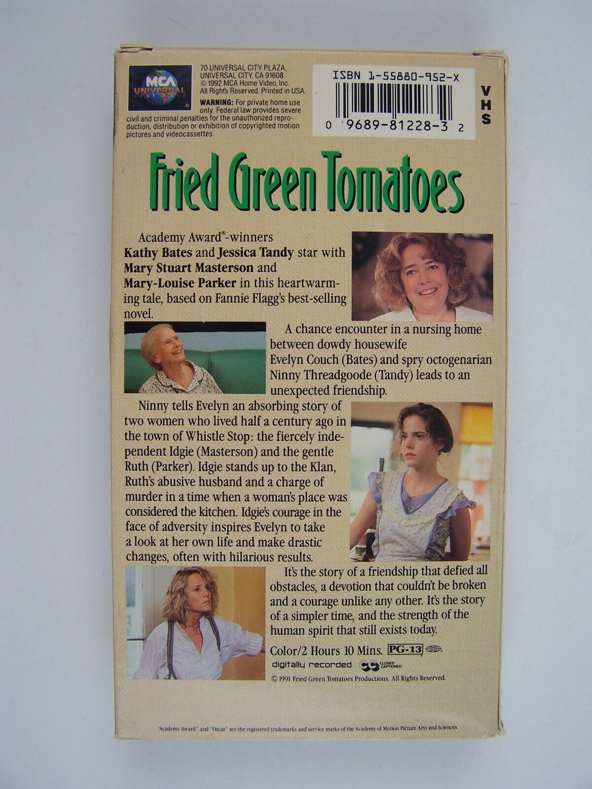 Fried Green Tomatoes VHS Kathy Bates, Jessica Tandy, Ma
