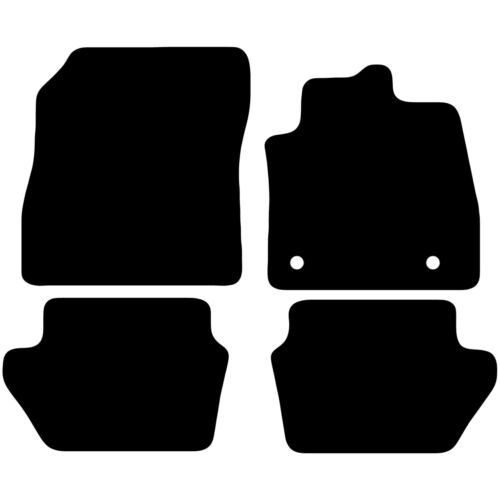 Tailored Black Car Floor Mats Carpets 4pc Set with Clips for Ford Fiesta MK7