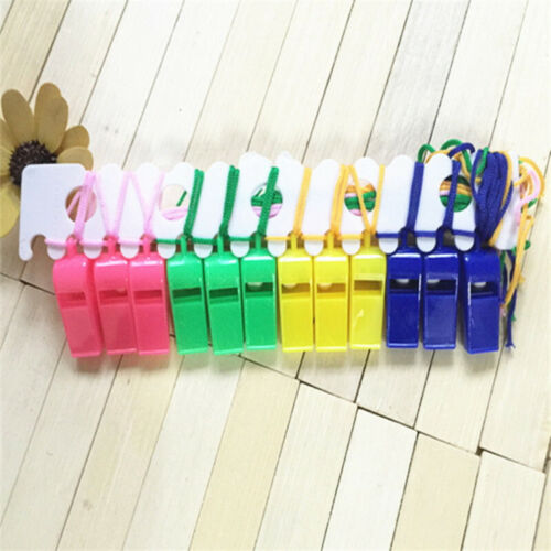 12Pcs Plastic Colors Whistle Neck Wrist Cord Sport Football Rugby Hockey Refe sf