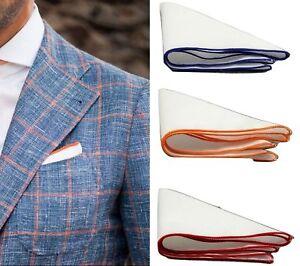 Uomo-100-Cotton-Fazzoletto-Quadrato-da-Taschino-Bordo-Regalo-di-Nozze