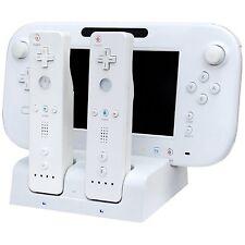 BIANCO Caricabatterie Docking Station +2 X Battery Pack per Wii e Wii U Remote Gamepad