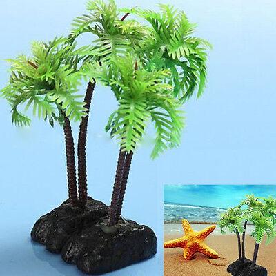 Plastic Aquarium Coconut Trees Fish Tank Plants Ornament Decoration 1pcs New