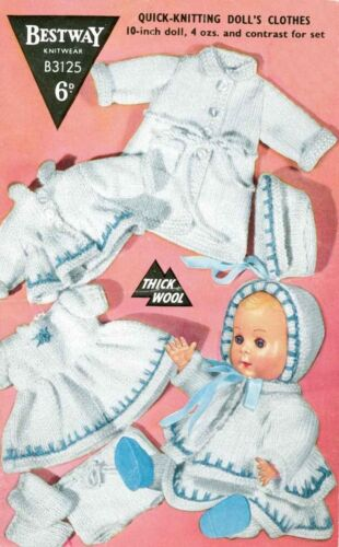 """KNITTING PATTERN TO MAKE VINTAGE BABY DOLLS CLOTHES 6 ITEMS FOR 10/"""" DOLL"""
