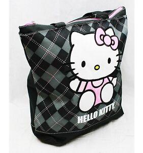 343815532867 NWT Hello Kitty Large Diaper Tote Bag Black Plaid Sanrio Licensed ...