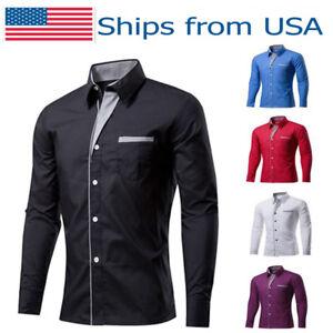 Plus Size Classic Men Dress Shirts Formal Business Casual Slim Long Sleeve Shirt
