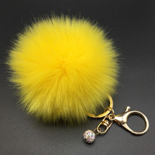 1* Tasche Schlüssel Anhänger Kaninchen Pelz Fell Bommel Handtasche Key Chains////