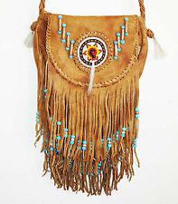SOUTHWEST AMERICAN INDIAN SADDLE BAG TAN LEATHER PURSE Beads Hippie Style Fringe