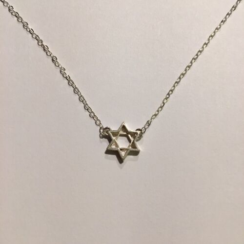 Sterling Silver Small Star Of David Charm Choker Necklace Perfect Gift!!