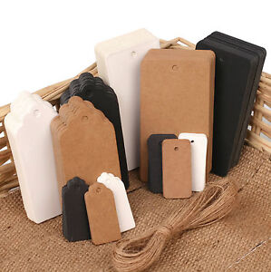 ECO-KRAFT-Paper-Gift-TAGS-Card-Label-Free-string-100-Per-Pack-UK-Seller