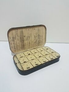 Vintage-Old-Hardy-Bros-Fly-Fishing-Metal-Box-case-Rare-Complete-with-Flies