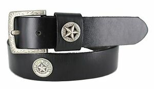LONE-TEXAS-STAR-WESTERN-CASUAL-JEAN-MEN-039-S-LEATHER-BELT-BLACK-NEW-SIZE-32-46-NWT