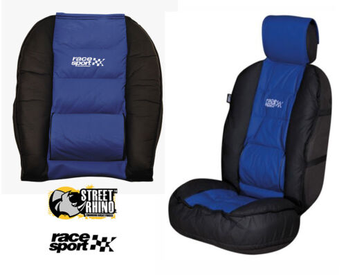 Mitsubishi I-Car Universal Race Sport Blue /& Black Cushioned Front Seat Cover