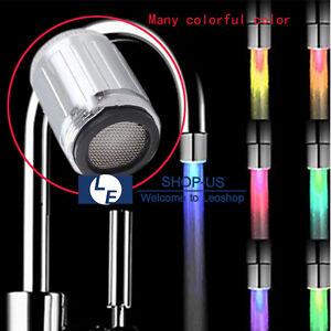 New 3 Color Temperature Sensor Led Light Kitchen Water Tap