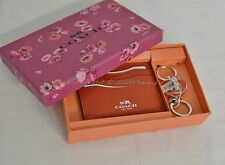 NIB Coach Gift Set Of Card Case and Valet Keyring Red Color Leather Great Gift!