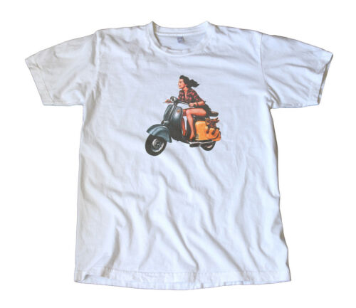 Mod Vintage Girl On a Vespa Scooter Decal T-Shirt