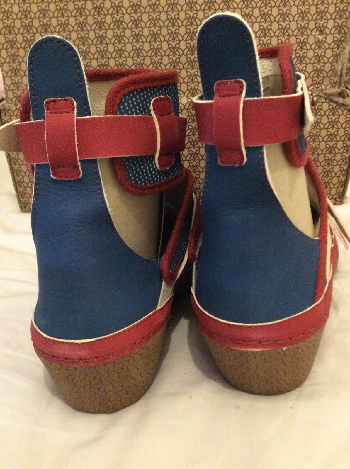 Po-Zu Ethical & & & Quirky rot & Blau Ankle Stiefel, UK 7 EU 41 Natural Latex Wedge 67a146