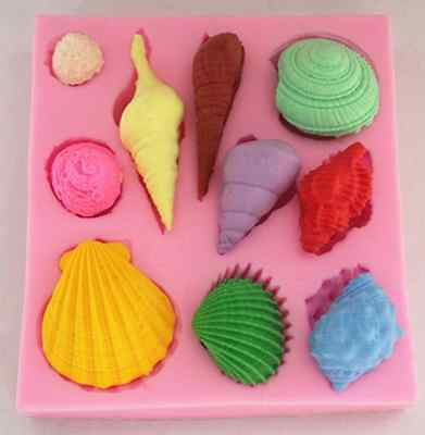 Shells silicone mold for fimo resin polymer clay fondant cake chocolate 052
