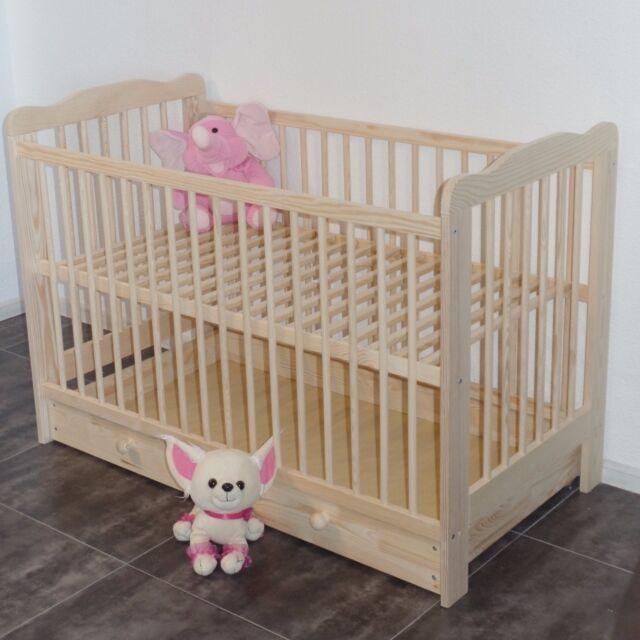 Babybett Kinderbett Gitterbett Massivholz mit Schublade extra Brett NEU ANGEBOT