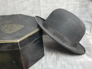 2bb10faf096 Image is loading Antique-Vintage-1920s-Classic-BOWLER-Hat-with-CAVANAUGH-