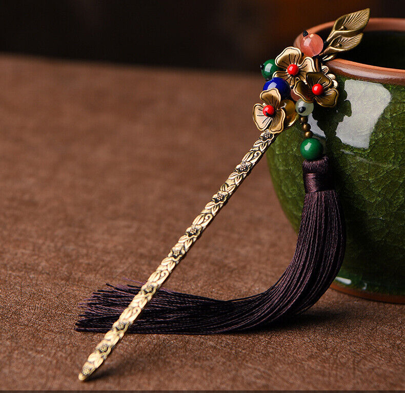 Traditional Asian Pink and Blue Beads with Brown Tassel Hairpin