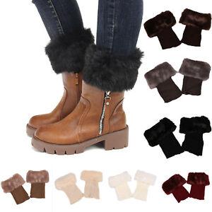 Ladies-Winter-Warm-Leg-Warmers-Crochet-Knit-Fur-Trim-Leg-Boot-Socks-Toppers-Cuff