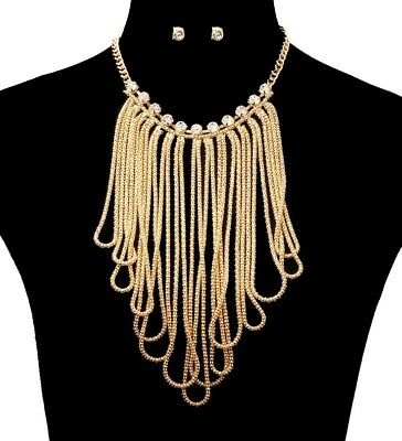 """GOLD EGYPTIAN BALL DROP Statement Necklace /& Earrings Celebrity Inspired SET~20/"""""""