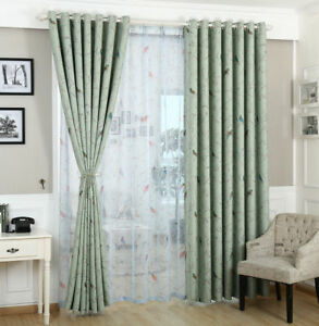 Two-Panels-Floral-Bird-Blue-Blockout-Curtain-Country-Provincial-Cottage-Curtains