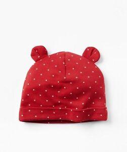 GAP Baby Boys / Girls Size 6-12 Months Red White Polka Dot Knit Bear Hat w/Ears