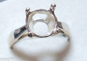 Sz-10-PRE-NOTCHED-925-STERLING-SILVER-11-mm-RING-MOUNT-R649
