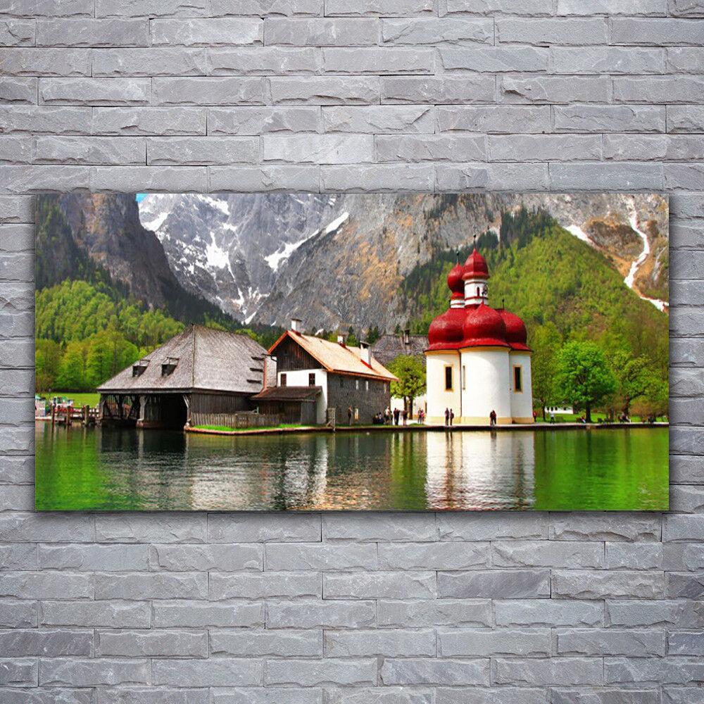 Glasbilder Wandbild Druck auf Glas 120x60 Gebirge Baum Zuhause Landschaft