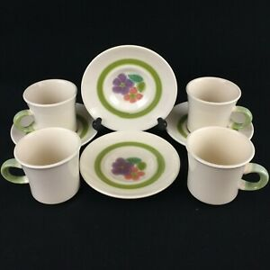 Set-of-4-VTG-Cups-and-Saucers-by-Franciscan-Floral-Earthenware-California-USA