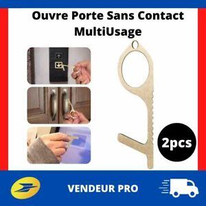 Ouvre-Porte-Sans-Contact-Laiton-Crochet-pour-Toucher-Surface-Sans-les-Mains-2pcs
