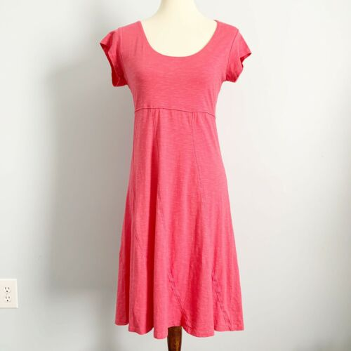 Toad & Co T Shirt Dress S Pink Organic Cotton Stre