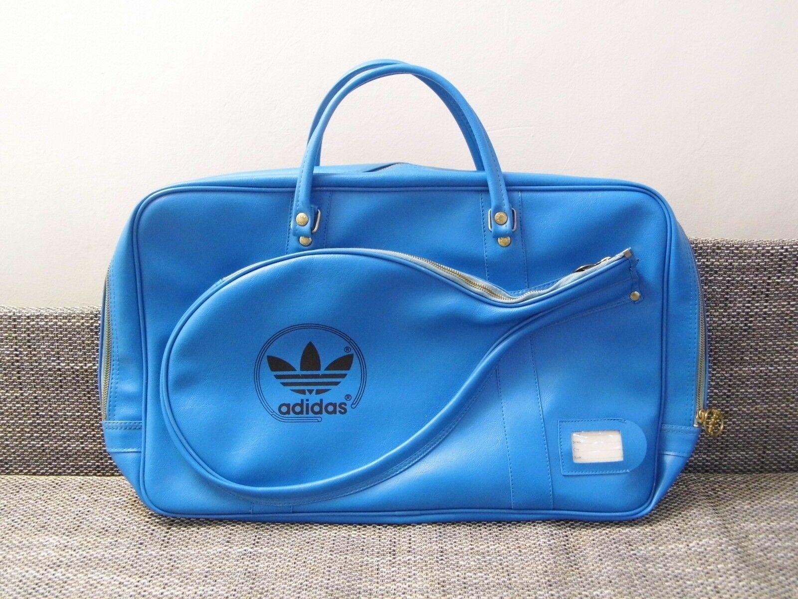 Vintage Blue 1970's Adidas Tennis Racquetball Bag Tote Gym Sports Retro