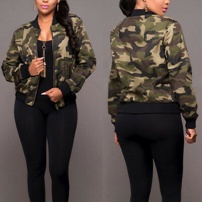 Womens Plus Size Army Camouflage Ladies Long Sleeve Bomber Zip Jacket Long Top