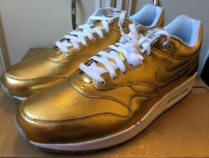 328f0d9578effe Nike Air Max 1 Liquid GOLD Metallic ID White Ice Off Og NikeID Rare ...