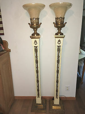 PAIR OF ANTIQUE C1950u0027s BRASS TORCHIERE FUNERAL FLOOR LAMPS W/ORIG CARMEL  SHADES