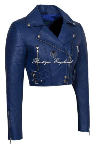 Blue Beskåret Læder Short Ladies 5625 Lamb Biker Skin Fitted Missy Real Jakke qO6Tgtw