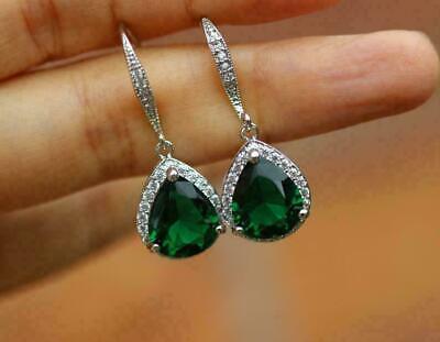 4Ct Emerald Cut Green Emerald Halo Drop /& Dangle Earrings 14k White Gold Finish